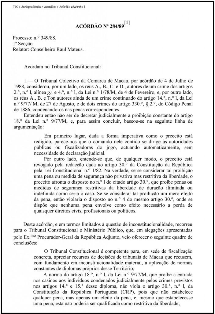 TC _ Jurisprudência _ Acordãos _ Acórdão 284_1989