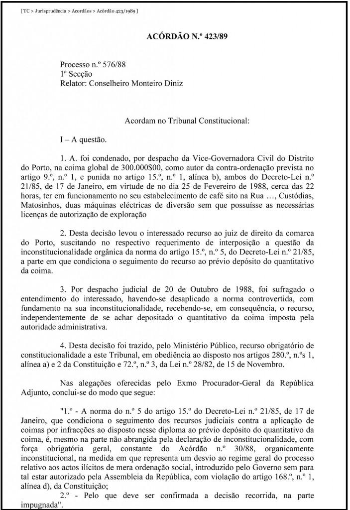TC _ Jurisprudência _ Acordãos _ Acórdão 423_1989