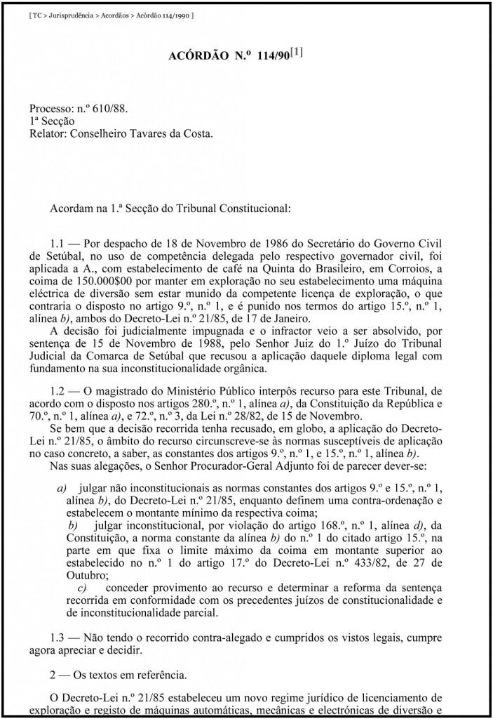 TC _ Jurisprudência _ Acordãos _ Acórdão 114_1990