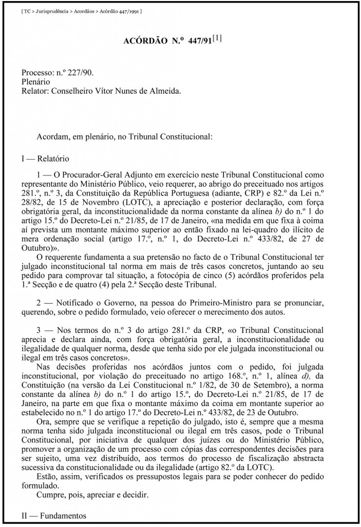 TC _ Jurisprudência _ Acordãos _ Acórdão 447_1991