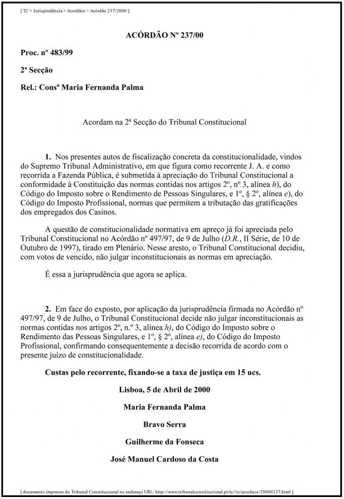 TC _ Jurisprudência _ Acordãos _ Acórdão 237_2000