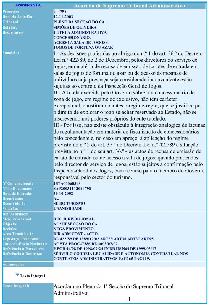 12-11-2003 Acordão do Supremo Tribunal Administrativo