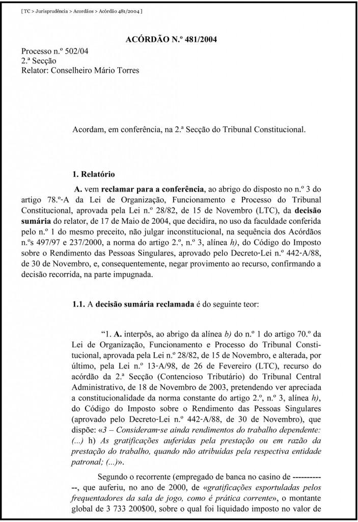 TC _ Jurisprudência _ Acordãos _ Acórdão 481_2004