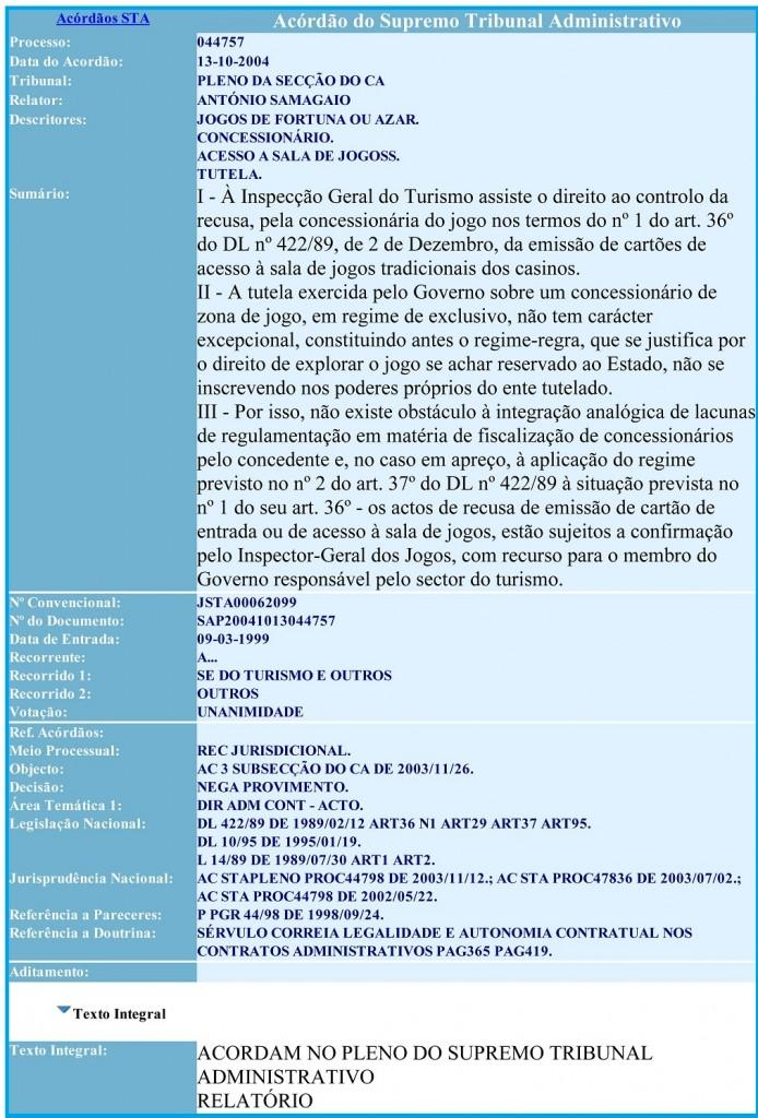 13-10-2004 Acordão do Supremo Tribunal Administrativo