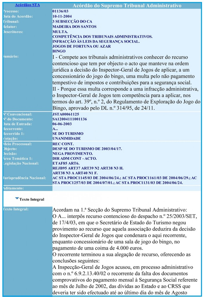 10-11-2004 Acordão do Supremo Tribunal Administrativo