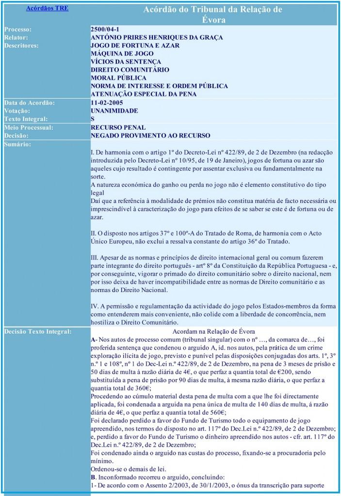 Acórdão do Tribunal da Relação de Évora 2500-04-1