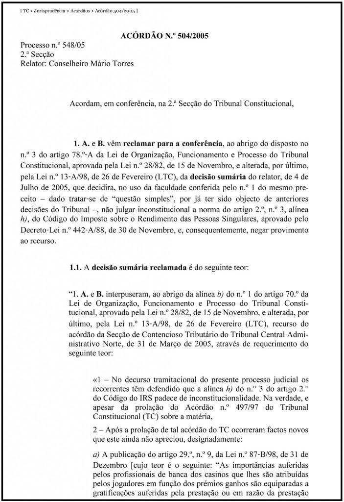 TC _ Jurisprudência _ Acordãos _ Acórdão 504_2005