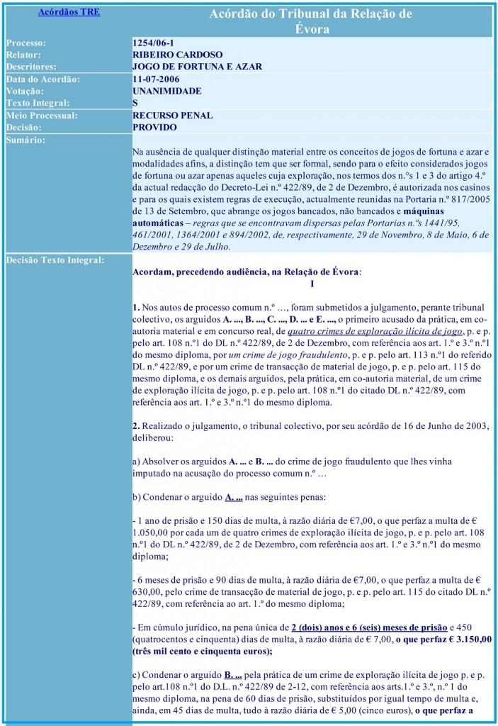 Acórdão do Tribunal da Relação de Évora Processo 1254-06-1