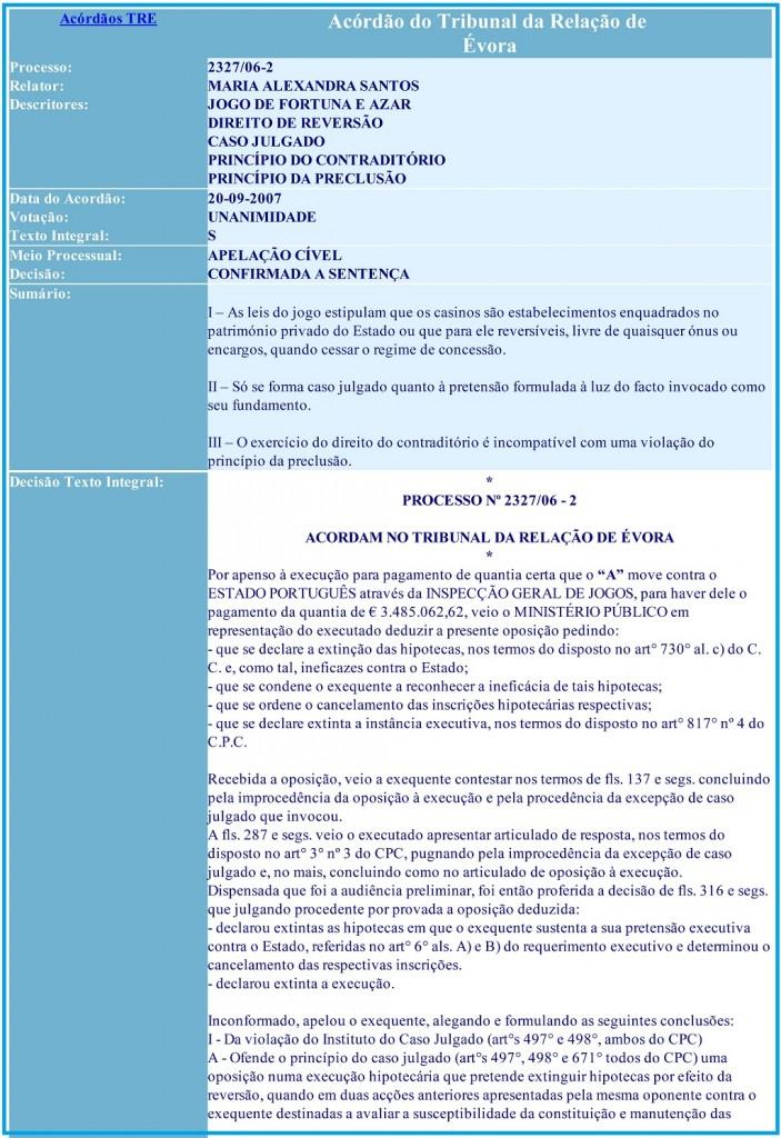 Acórdão do Tribunal da Relação de Évora Processo 2327-06-2.