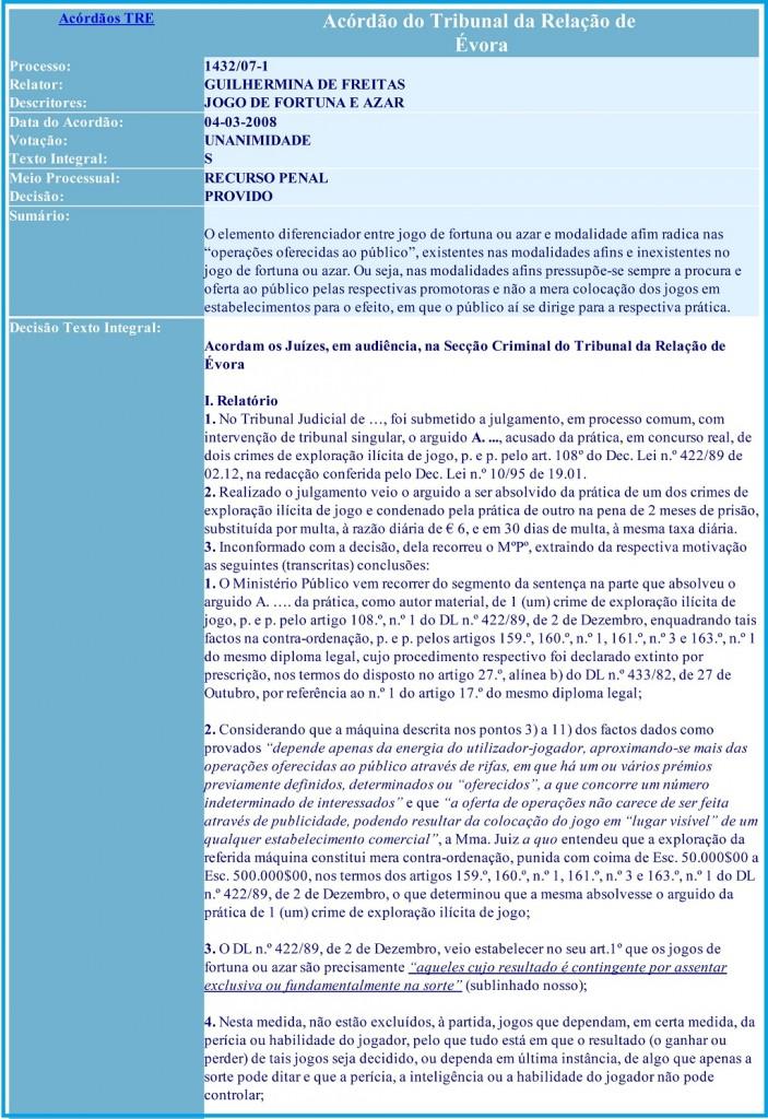 Acórdão do Tribunal da Relação de Évora  Processo 1432-07-1