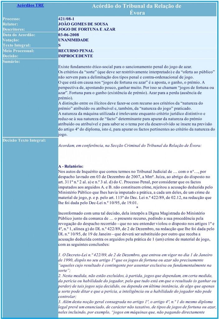 Acórdão do Tribunal da Relação de Évora Processo 421-08-1