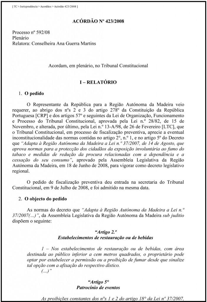 ACÓRDÃO DO TRIBUNAL CONSTITUCIONAL 423-2008