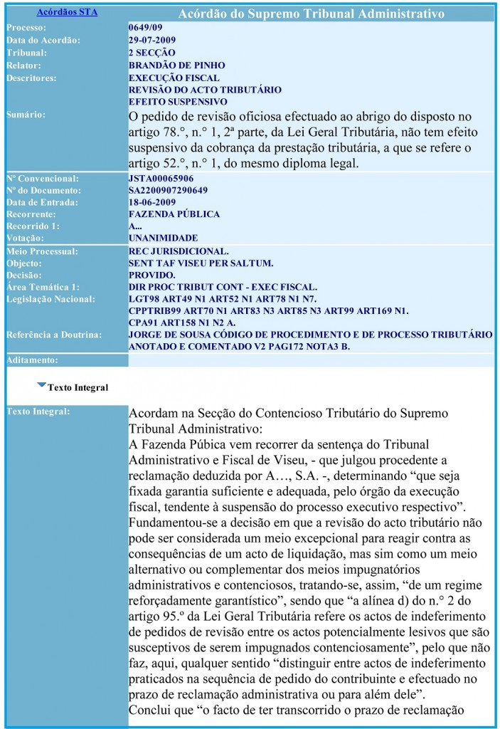 29-07-2009 Acordão do Supremo Tribunal Administrativo