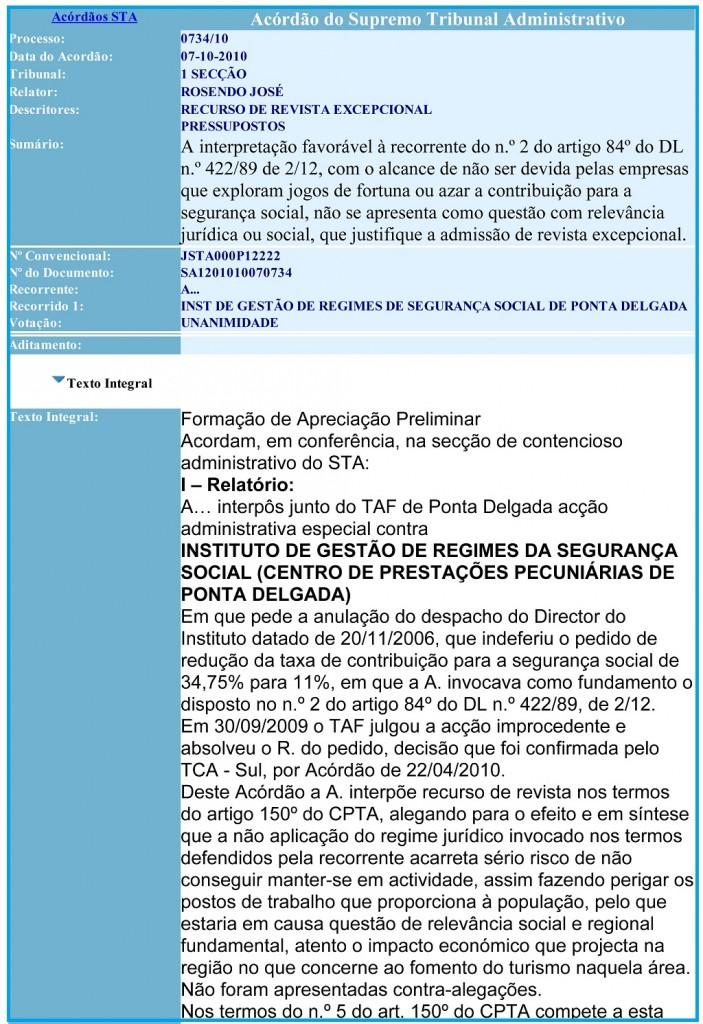 07-10-2010 Acordão do Supremo Tribunal Administrativo