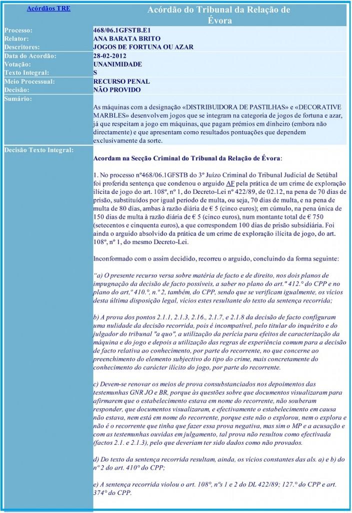 Acórdão do Tribunal da Relação de Évora - Processo 468-06.1GFSTB.E1