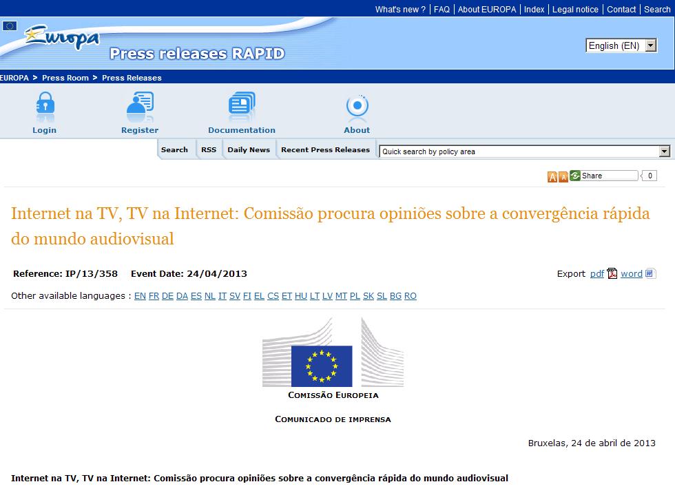 Internet na TV, TV na Internet - Comissão procura opiniões sobre a convergência rápida do mundo audiovisual