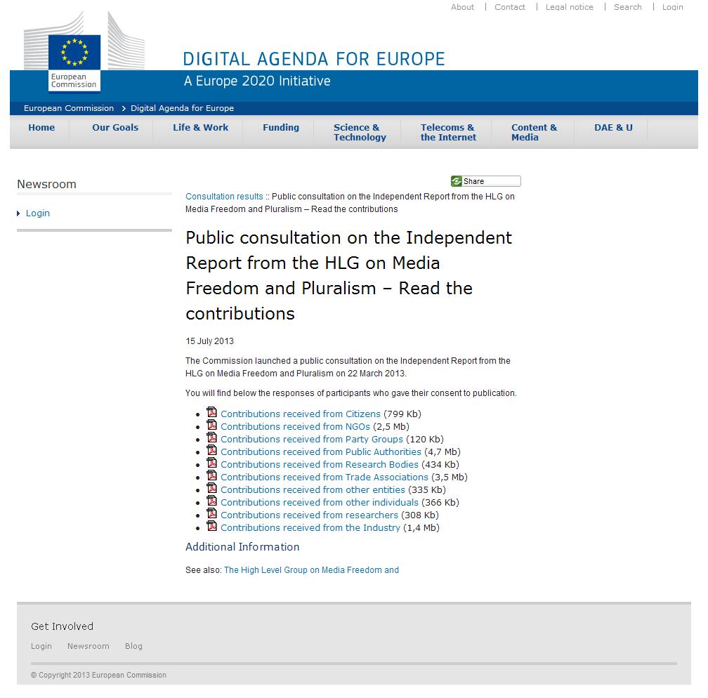 Consulta pública relativa ao Relatório Independente da HLG de Mídia Liberdade e Pluralismo
