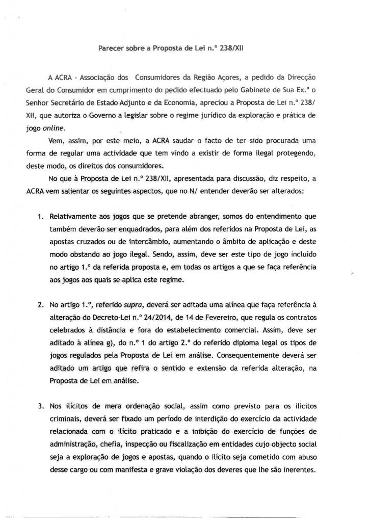 Parecer ACRA - Associação dos Consumidores da Região Açores