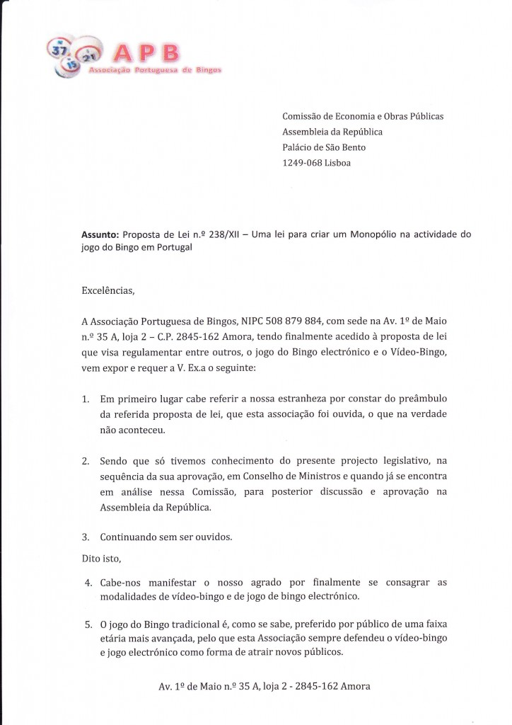 Parecer APB - Associação Portuguesa de Bingos