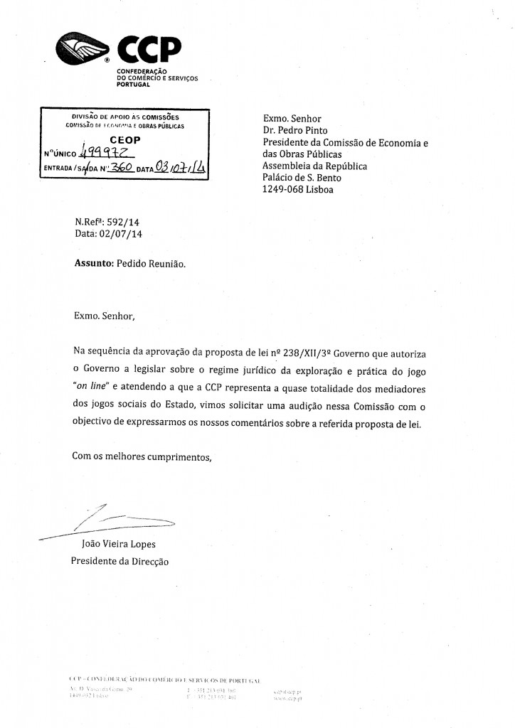 Parecer CCP - Confederação do Comércio e Serviços de Portugal