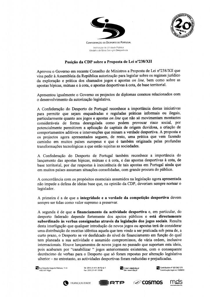 Parecer CDP - Confederação do Desporto de Portugal