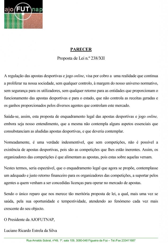 Parecer (CND) - AJOfutNAP - Associação dos Jogadores de Futebol Não Profissional