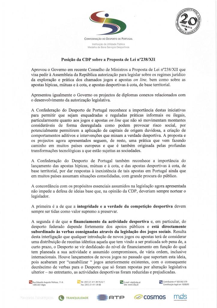 Parecer (CND) - CDP - Confederação do Desporto de Portugal