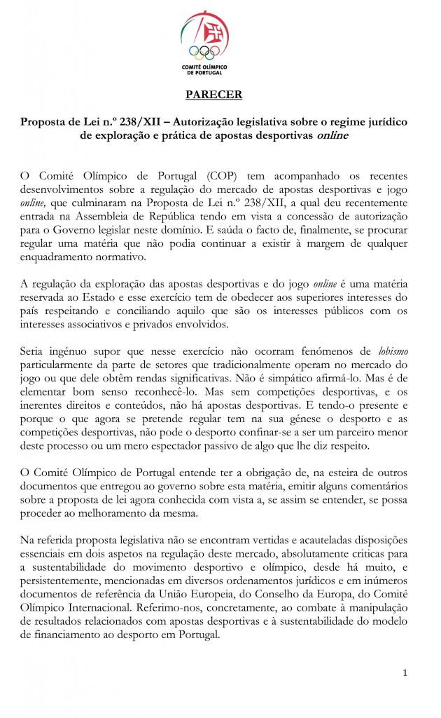 Parecer (CND) - COP - Comité Olímpico de Portugal