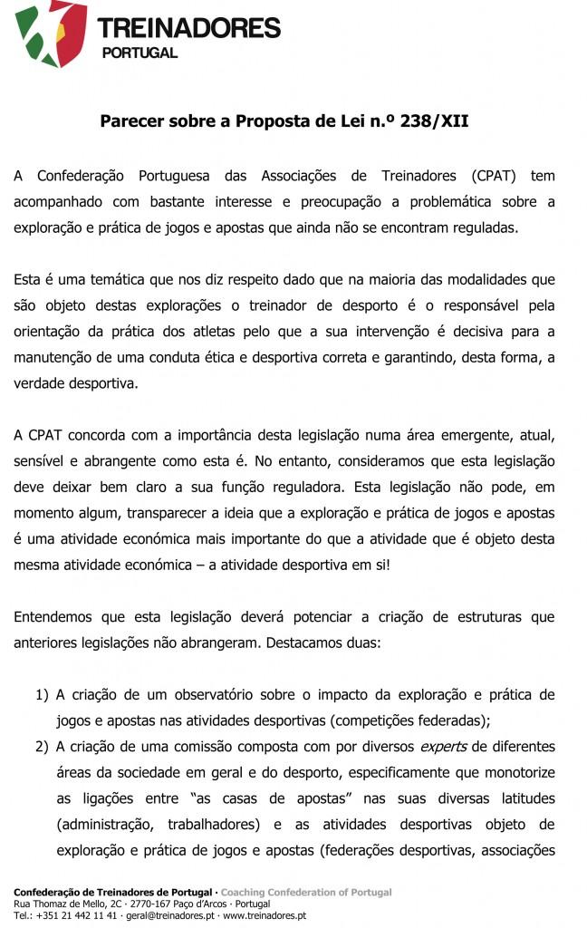 Parecer (CND) - CPAT - Confederação Portuguesa das Associações de Treinadores