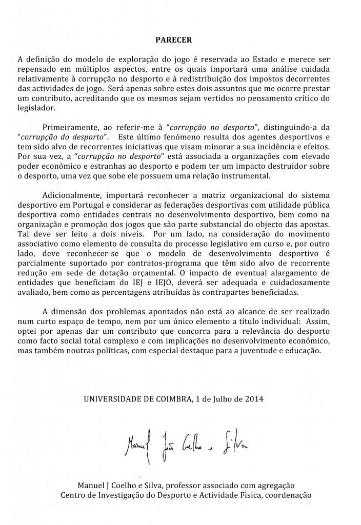 Parecer (CND) - Conselheiro Manuel João Coelho e Silva