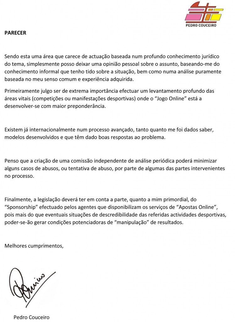 Parecer (CND) - Conselheiro Pedro Couceiro
