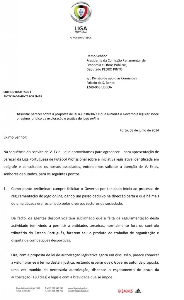 Parecer (CND) - LPFP - Liga Portuguesa Futebol Profissionais