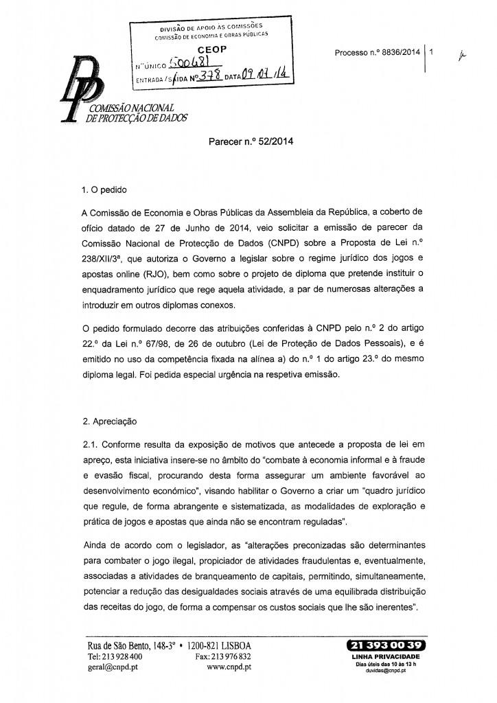 Parecer CNPD - Comissão Nacional de Protecção de Dados
