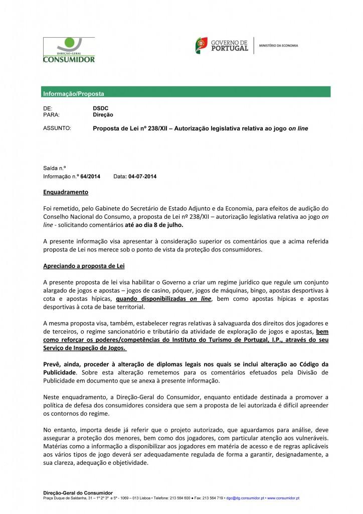 Parecer DGC - Direção Geral do Consumidor (Inf 64)
