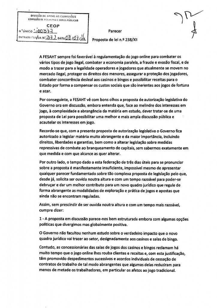 Parecer FESAHT - Federação dos Sindicatos de Agricultura, Alimentação, Bebidas, Hotelaria e Turismo de Portugal