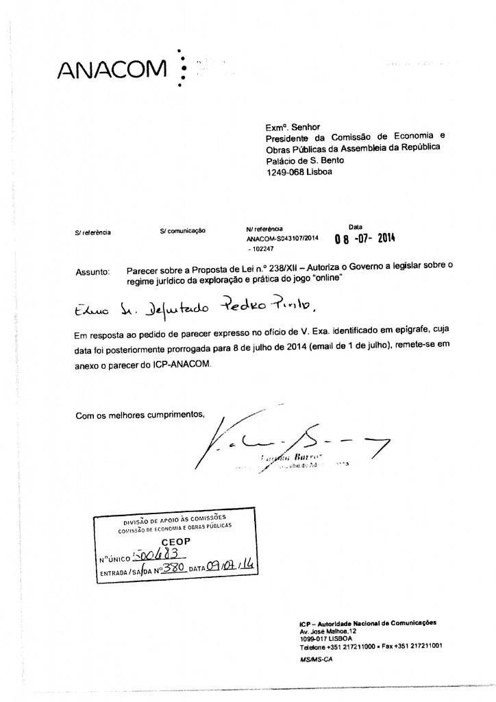 Parecer ICP - Autoridade Nacional de Comunicações
