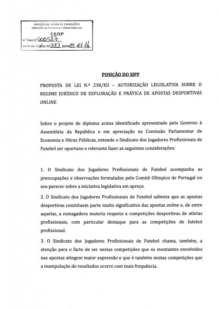 Parecer SJPF - Sindicato dos Jogadores Profissionais de Futebol