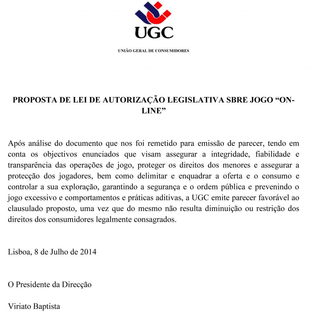 Parecer UGC - União Geral de Consumidores