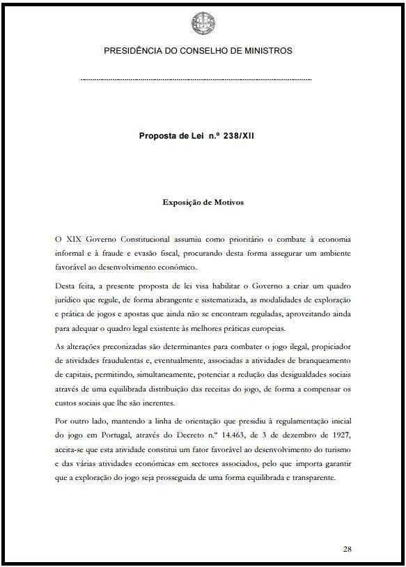 Proposta de Lei n..º238-XII