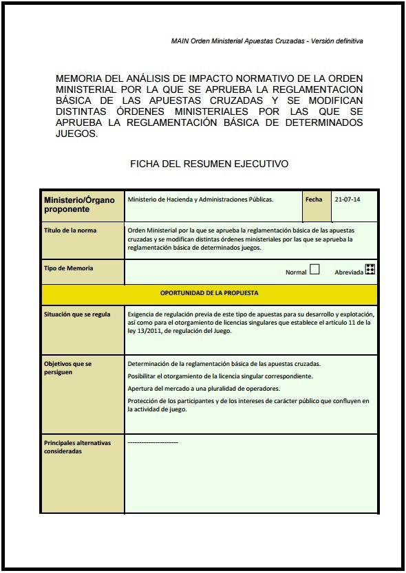 ESPANHA - MAIN Orden Ministerial Apuestas Cruzadas
